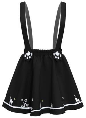 20c16132370f Futurino Women's Sweet Cat Paw Embroidery Pleated Mini Skirt with 2  Suspender ...