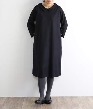 Adieu Tristesse (アデュー トリステス) - ウーステッドジャージー 衿付ワンピース(ネイビー)【入荷待ち】