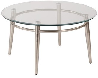 Office Star AVE SIX by Products Brooklyn Round Coffee Table, Nickel Brush/Clear Glass