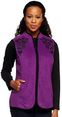 Susan Graver Fleece Vest w/ Front Zipper and Contrast Embellishments