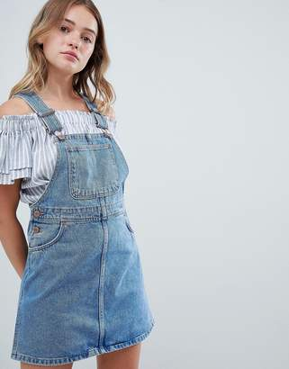 Monki Denim Overall Mini Dress