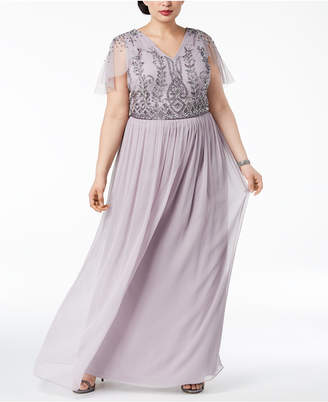 Adrianna Papell Plus Size Beaded Gown
