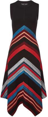 Proenza Schouler Wool-Silk Marled Ottoman Stripe Waisted Knit Dress