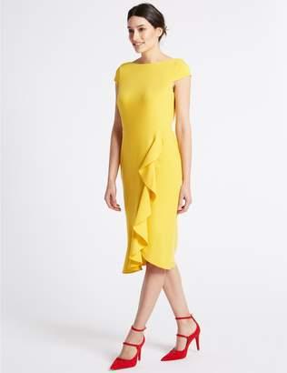 Marks and Spencer Ruffle Asymmetric Short Sleeve Bodycon Dress