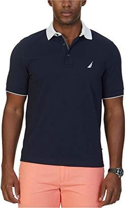 Nautica Men's Classic Fit Solid Stretch Pique Contrast Collar Polo Shirt