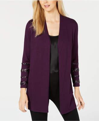Alfani Sequin-Sleeve Open-Front Cardigan, Created for Macy's