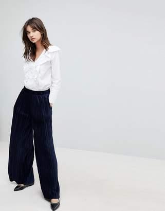 J.o.a. High Waist Wide Leg Pants In Pleated Velvet