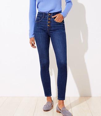 LOFT Curvy High Waist Slim Pocket Skinny Jeans in Staple Dark Indigo Wash