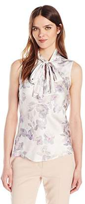 Nine West Women's Charmeuse Pattern Bow Blouse (2)