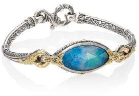 Konstantino Iliada Chrysocolla, Quartz, 18K Yellow Gold, Sterling Silver Bracelet