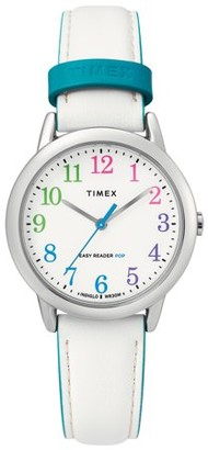Timex Women's Easy Reader 30mm White/Rainbow Watch, Leather Strap