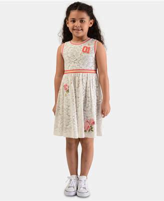 Bonnie Jean Little Girls Rib-Trim Floral Lace Dress
