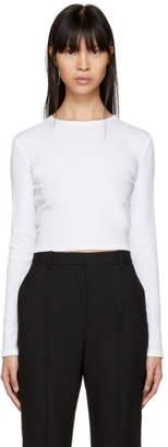 Rosetta Getty White Long Sleeve Cropped T-Shirt