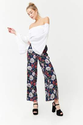 Forever 21 Floral Print Wide-Leg Pants