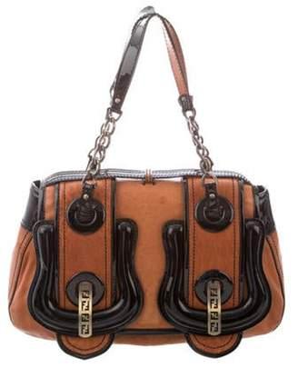 Fendi Patent Leather-Trimmed B. Bag bronze Patent Leather-Trimmed B. Bag