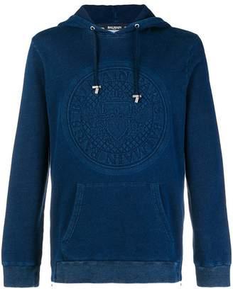 Balmain logo embossed hoodie