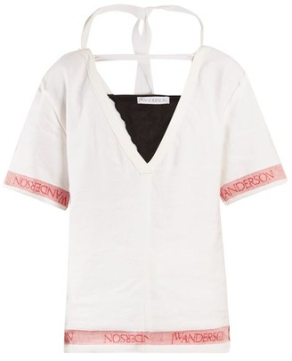Jw Anderson - Deep V Neck Linen Top - Womens - White