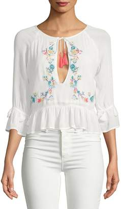 Raga Women's Ashlyn Floral Cut-Out Cotton Blouse