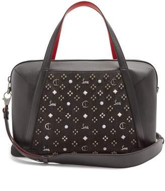 Christian Louboutin Bagdamon Spike Embellished Leather Holdall - Mens - Black