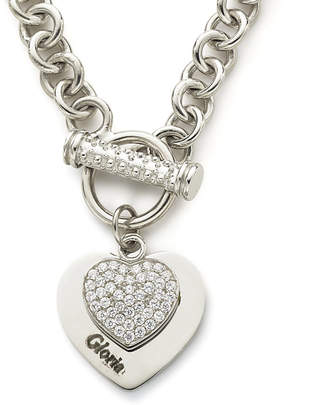 JCPenney FINE JEWELRY Personalized Cubic Zirconia Sterling Silver Heart Pendant Necklace