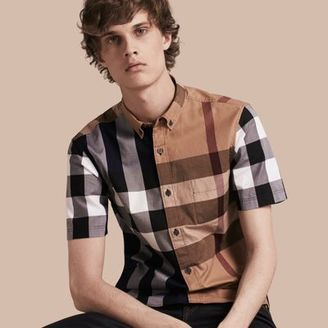 Burberry Short-sleeved Colour Block Check Cotton Shirt $275 thestylecure.com