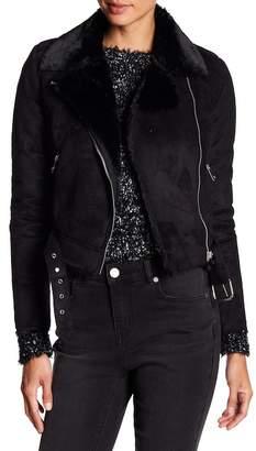 Romeo & Juliet Couture Faux Suede Faux Fur Lined Asymmetrical Zip Jacket