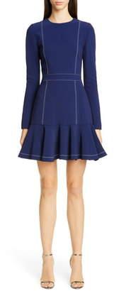 Carolina Herrera Contrast Stitch Long Sleeve Crepe Dress