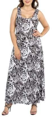 24/7 Comfort Apparel 24Seven Comfort Apparel Magda Grey Floral Plus Size Maxi Dress