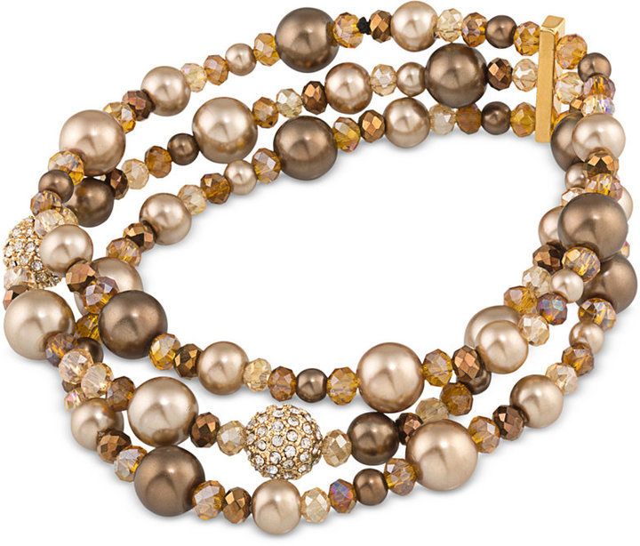 CaroleeCarolee Gold-Tone Brown Imitation Pearl and Pavé Stretch Bracelet