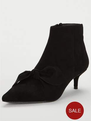 Very France Bow Point Kitten Heel Ankle Boot