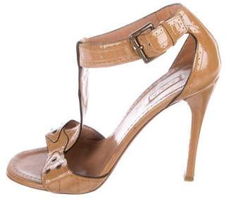 Alaia Patent Leather T-Strap Sandals