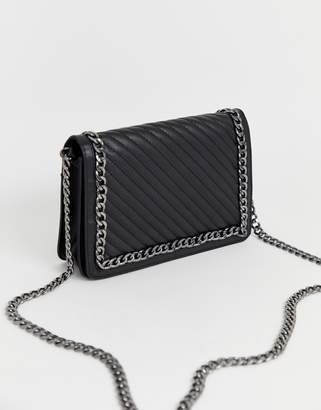 Asos Design DESIGN leather quilted chain detail shoulder bag