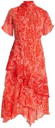 Peter Pilotto High-neck tiered floral-devoré dress