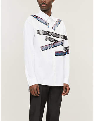 DSQUARED2 Logo-tape print regular-fit cotton shirt