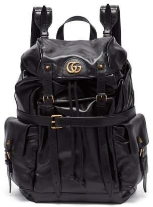 Gucci Gg Plaque Crinkled Leather Backpack - Mens - Black