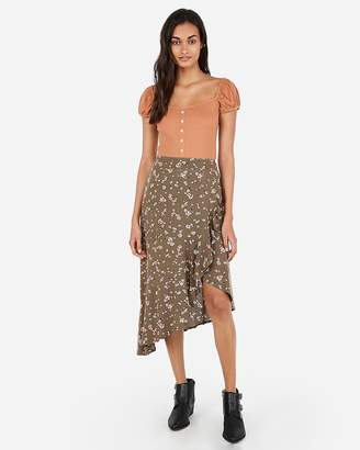 Express High Waisted Asymmetrical Ruffle Floral Midi Skirt