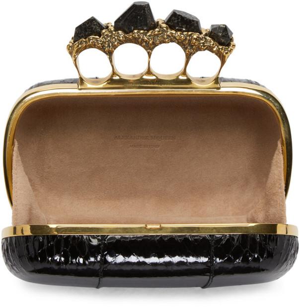 Alexander McQueen Black Snakeskin Knuckle Box Clutch