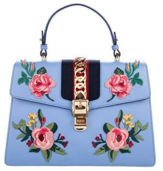 Gucci Medium Embroidered Sylvie Top Handle Bag
