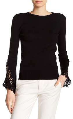 Catherine Malandrino Crochet Knit Long Sleeve Pullover