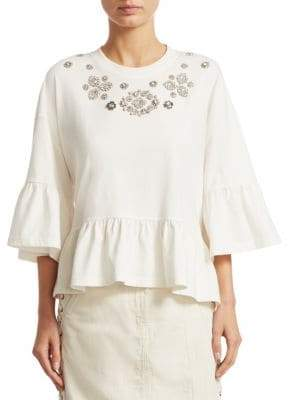 McQ Embellished Ruffle Cotton Bell-Sleeve Top