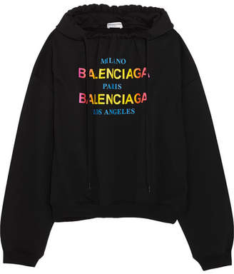 Balenciaga Printed Cotton-jersey Hoodie - Black