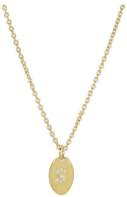 Gorjana Alphabet Shimmer Disc Necklace (S) (Gold) - Jewelry