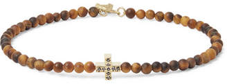 Luis Morais Tiger's Eye Bead, 14-Karat Gold and Diamond Bracelet - Men - Brown