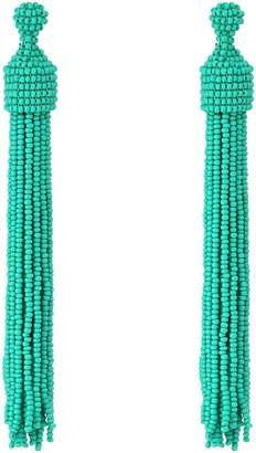 Kenneth Jay Lane Turquoise Seed Bead Tassel Post Ear Earrings Earring