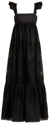 Valentino Camellia Embroidered Cotton Blend Organdy Gown - Womens - Black