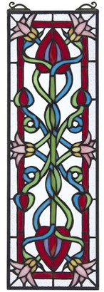 Toscano Design Pink Dahlia Tiffany-Style Stained Glass Window