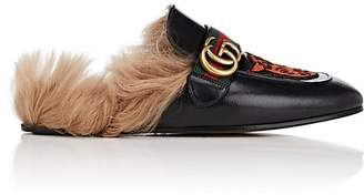 Gucci Men's Princetown Embroidered Leather Slippers
