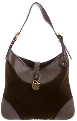 b6f2aace37 Ralph Lauren Velvet Leather-Trimmed Hobo