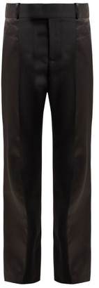 Haider Ackermann Calder High Rise Silk Satin Trimmed Wool Trousers - Womens - Black