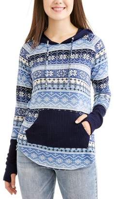 Eye Candy Juniors' Printed Waffle Knit Pullover Hoodie